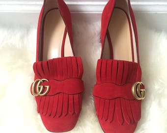 GUCCI Suede Loafer Fringed GG Red Pumps Size IT 38.5 U.S 9