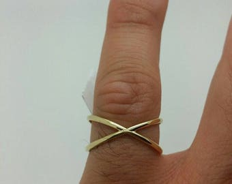 14k Yellow Gold X Crisscross Design Band Ring Size 8