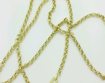 """10k Yellow Gold Round Rolo Link Necklace Pendant Chain 16"""" 18"""" 20"""" 2.3mm"""