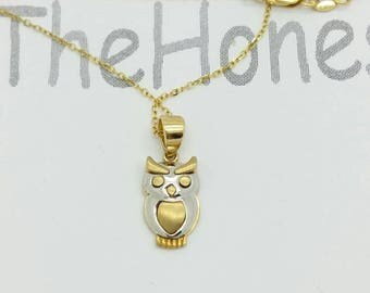 10k Gold Owl necklace Pendant Chain Charm Gift