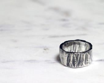 Tree Bark Men's Ring - Sterling Silver Dark / Black Oxidised