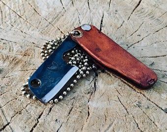 Folding necklace/keychain knife