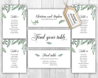 Wedding Seating Chart Template, Eucalyptus Wedding, Find Your Table, Editable Seating Chart, Seating Chart Template, #E1