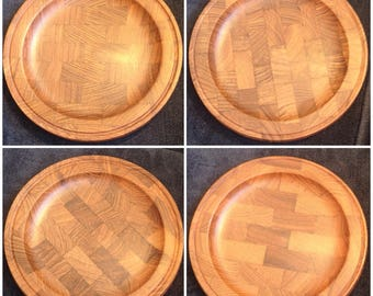 Gorgeous 12/pcs Teak Wood Plates Dishes DENMARK 1960's