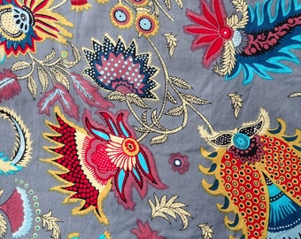 Fabric, Indian cotton printed grey and multicolor, big PAISLEY collection.