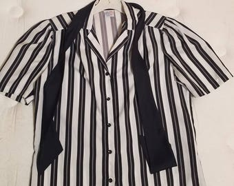 Vintage Black and White striped blouse