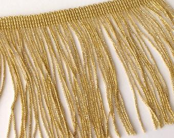 Braid has fringed gold Lurex metallic gold 10 cm, sold by the yard