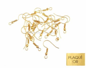 18K gold plated - 10 or 100 hooks 18mm - gold