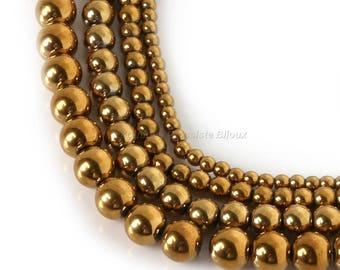6/8 / 10mm - Hematite - 100 or 500 gold Hematite beads