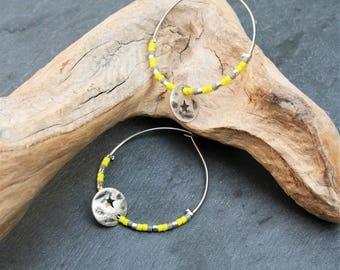 Semi-precious citrine chips beads glass star charm and miyuki yellow and gray