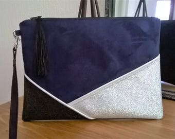 BIG clutch suede Navy and black imitation leather and glitter silver