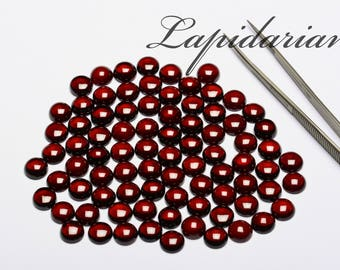 Red garnet Cabochons 9mm rounds 1st quality