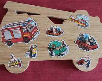 Puzzle in wood fire truck