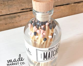 Nude & Black Tip Colored Matches Mix Match Sticks Decorative Glass Bottle Farmhouse Home Decor Unique Gifts Best Seller Most Popular Item