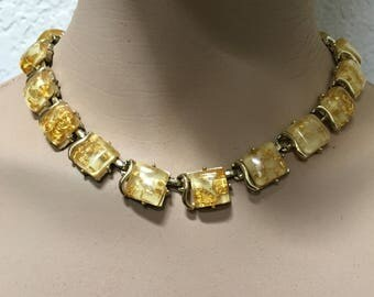 CORO Necklace Confetti Lucite Yellow Gold Thermoset Vintage 1960s Jewelry Christmas Birthday