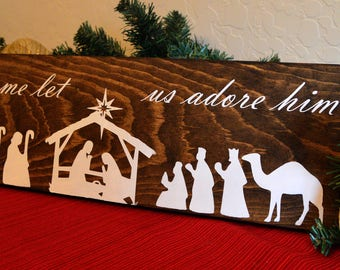 Nativity scene wood sign -