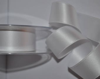 satin ribbon double sided white 50 mm / 5 cm, sold by the yard