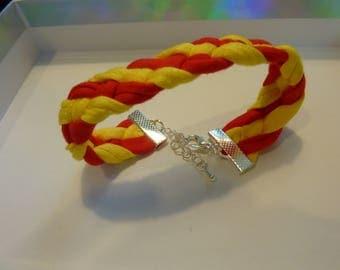 Men/women red and yellow braided Cuff Bracelet