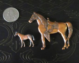 Two Copper Horse Pins/Brooches 1980's