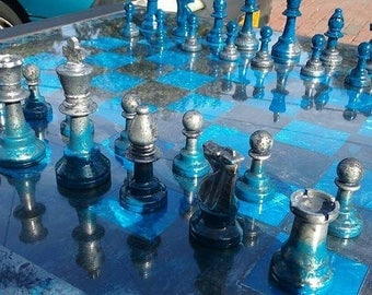Uniquely Beautiful, Hand-Crafted Chess Board (with pieces)