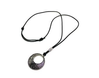 Black leather necklace for women!Genuine leather jewelry!Cord leather pendant necklace!Boho jewelry!