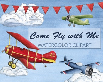 Airplane Watercolor Clipart - Airplane Watercolor Clip Art - Plane Watercolor Clipart - Plane Clip Art - Watercolor Aviation Clip Art