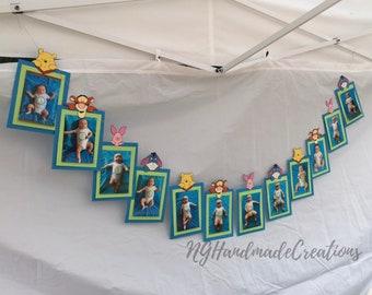 Winnie the Pooh 12 Month Photo Banner First Birthday