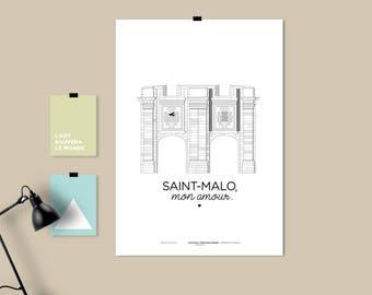 "A3 print/poster/print - Holder Saint-Vincent ""St Malo, my love."""
