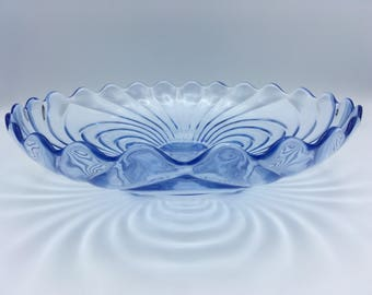 Vintage Cambridge Caprice Moonlight Blue  3 Foot Round Shallow Cupped Salad Bowl