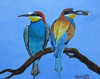 Limited Edition Fine Art Giclée Print on Stretched Canvas:  East Leake Bee Eaters 2 #01/150 by Martin Romanovsky