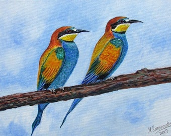 Limited Edition  Giclée print by Martin Romanovsky on Fabriano 310gms Fine Art paper: East Leake Bee Eaters 1