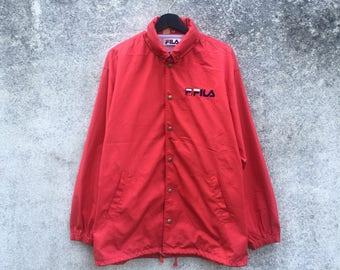 FILA vintage 90s Fila hooded button windbreaker jacket nice and simple logo size L