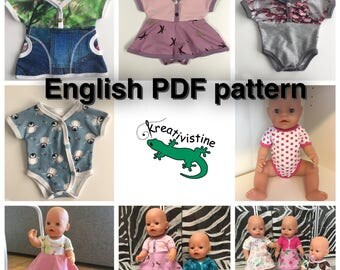 Sew Doll Clothes from scraps,  PDF pattern English