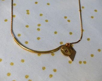 Tube and gold diamond necklace
