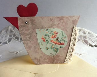 """Handmade """"Poulette"""" printed paper, cardstock card"""