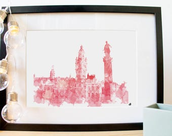 Poster Poster Lille, France, the Grand Place. Digital fashion watercolor painting. For a gift or for home decor!
