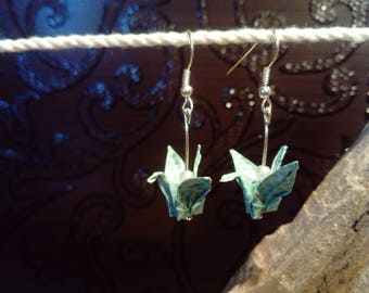 "Earrings ""cranes"" green water"