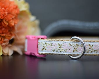 Handcrafted Dog Collar- Pinkie Design with gold and pink embellishments