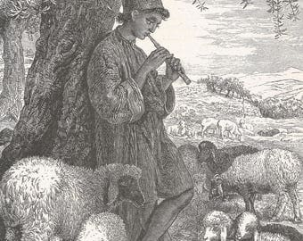 Shepherd of Bethlehem, Palestine 1885 - Old Antique Vintage Engraving Art Print - Shephard, Boy, Hat, Tree, Flute, Music, Sheep, Grazing