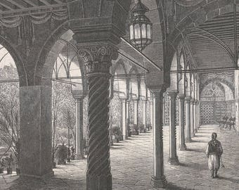 Algeria 1877, Lower Gallery of the Palace, Around the Gardens, Old Antique Vintage Engraving Art Print, Interior, Colonnade, Segemental