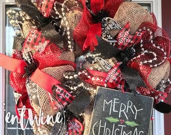 Merry Christmas Burlap Wreath