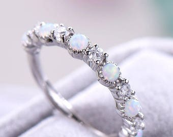opal engagement ring 925 sterling silver white gold cz diamond women wedding stacking band minimalist bridal - Engagement Rings And Wedding Rings