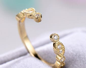 Cubic Zirconia Wedding Band Yellow Gold Plated Open Stacking Ring Engagement Bridal Anniversary Gift Matching Band Antique Milgrain Women