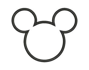 Mickey Head Applique Design - 5 SIZES