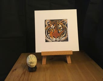 TIGER art, print, artwork, animal, cat, wildlife, perfect gift, tiger lover, nature, home decor,  gift for her, eco friendly, 232mm x 232mm
