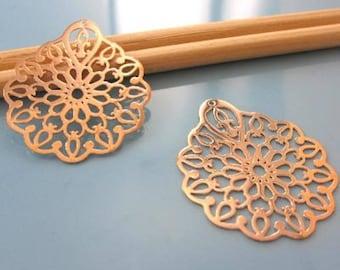 2 prints - bright - coppery connector pendants - Diam: 30mm # M47
