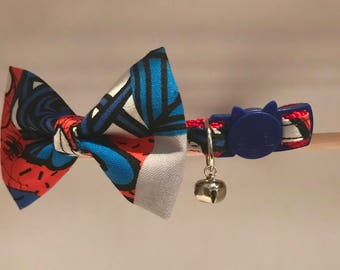 """Spiderman Cat Collar with Bow Tie - """"Spiderman"""" - Breakaway Cat Collar / Kitten Collar / Dog Bow Tie"""