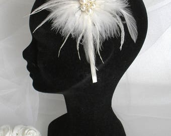 Headband wedding ref Marlena down cop with ivory pearls and ostrich feathers