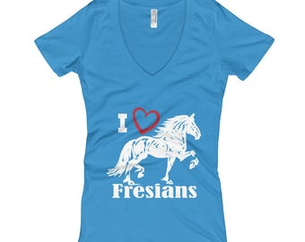I Love Fresians Womens V-Neck T-shirt