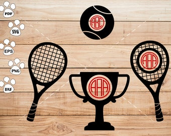 Tennis SVG Files, Trophy Monogram Frame svg, Tennis Clipart, cricut, cameo, silhouette cut files commercial &  personal use